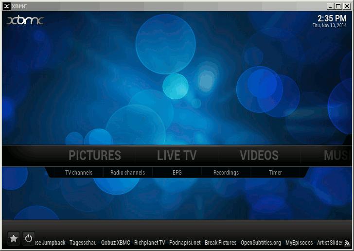 XBMC / KODI Live TV Menu