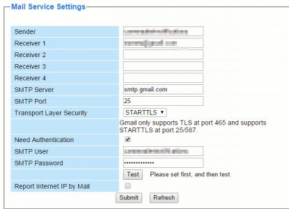Foscam Mail Service Settings