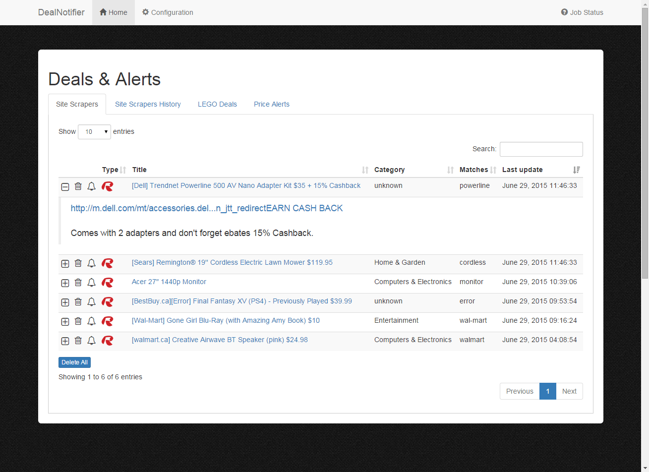 DealNotifier: Site Scrapers (Expanded First Post From Thread)