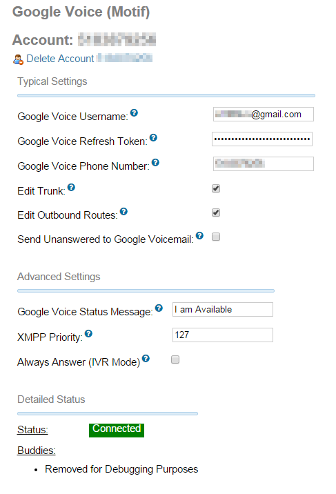 IncrediblePBX: Google Trunk Settings