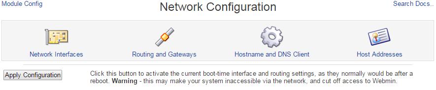 Linux Webmin: Network Configuration