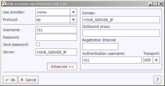 YateClient Account Setup