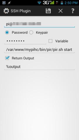 Tasker: Start Alarm Task SSH Plugin - Login Details