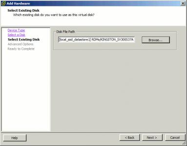 unRAID VM Properties Select Disk