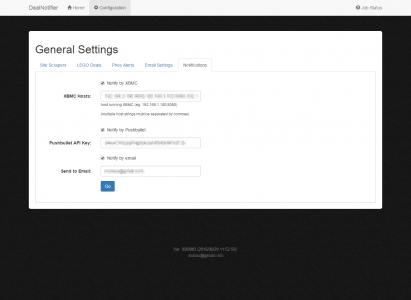 DealNotifier: Notifications Configuration